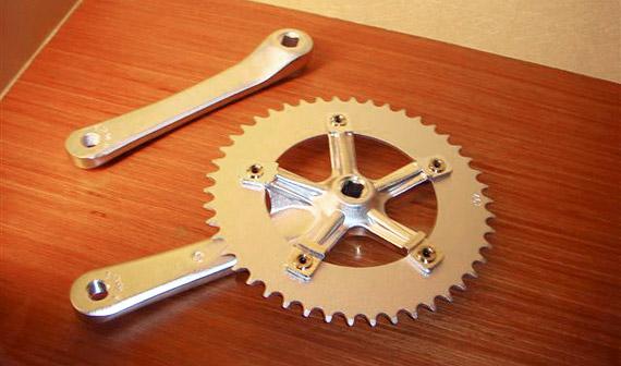 Система, шатуны со зведой, для fixed gear, трекового велосипеда, серебристая