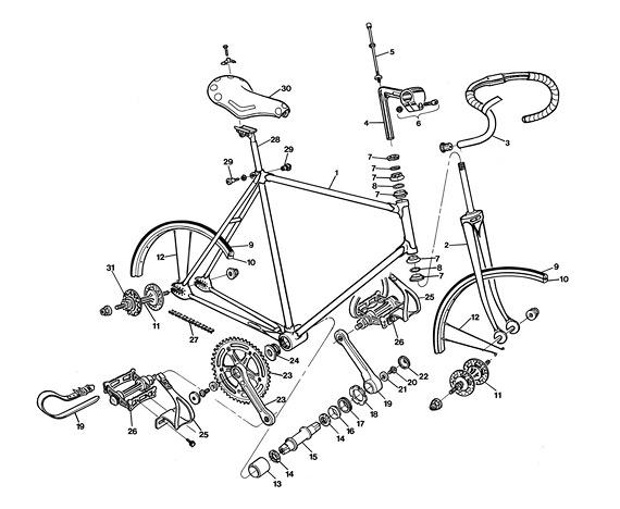 Из чего сделан fixed gear велосипед и как его собрать? Схема устройства фикса.