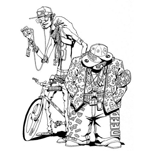 Хипстеры на скейтбордах и fixed gear велосипедах