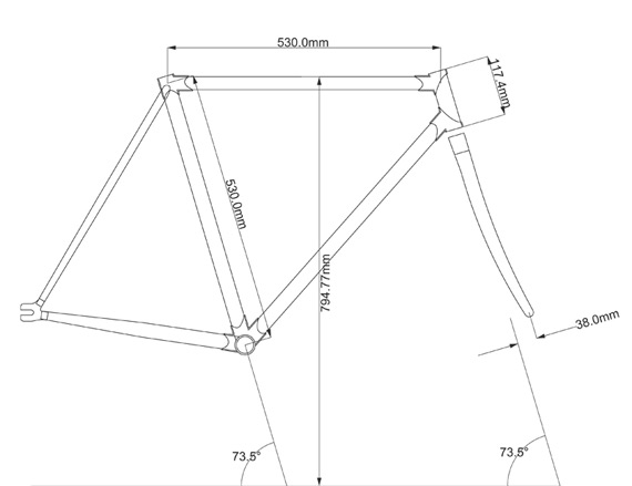 Чертеж рамы fixed gear велосипеда от Primate Frames