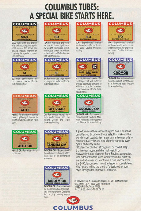 Таблица марок стали Columbus для велосипедных рам