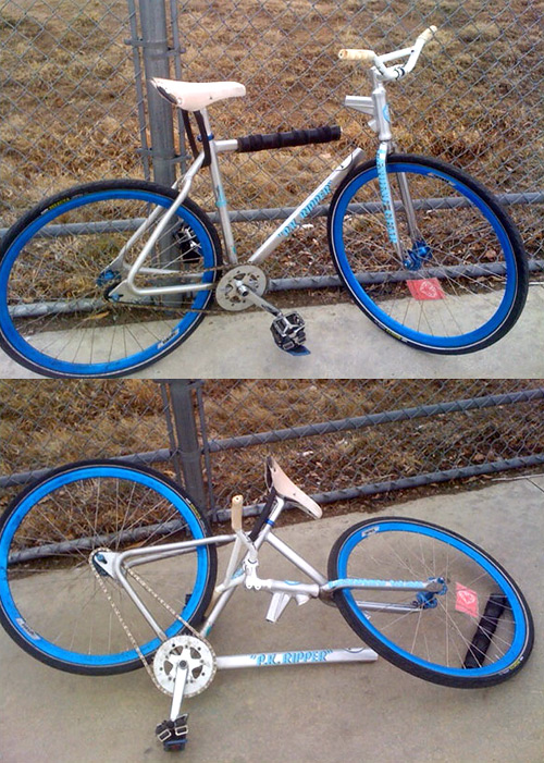Сломанный fixed gear велосипед SE DC PK Ripper