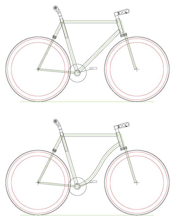 Проект fixed gear, городской рамы для велосипеда.