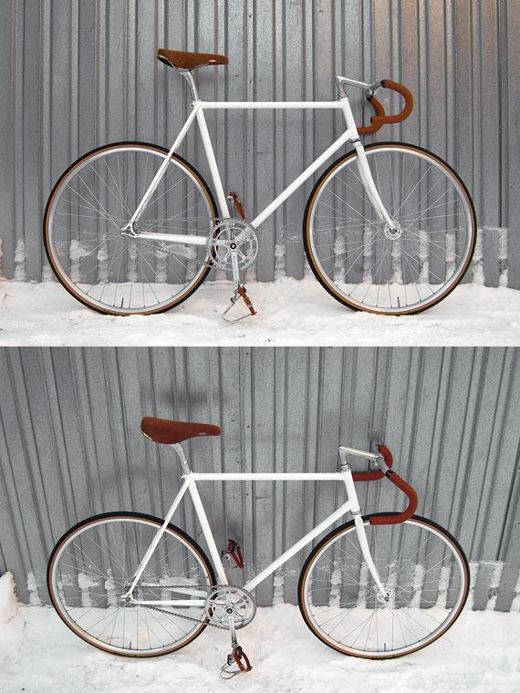 Финтажный fixed gear велосипед на базе стальной трековой рамы Konstruktor «Kinetik»